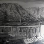 «Балкон. Черногория», бумага/ карандаш, 35 х 49, 2019 г.