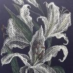 Белые лилии, бумага, пастель, 14 х 22, 2018.
