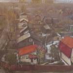 «Вид с балкона. Королев», бумага, масляная пастель, 53 x 74, 2017 г.