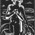 «В воде», бумага/ линогравюра, 24, 5 х 18,5, 2002 г.