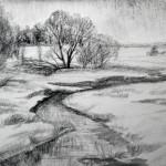 «Дождь начинается. Река Селекша», бумага/ карандаш, 46 х 34,5, 2019 г.