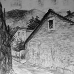 «Дорога к храму», бумага/ карандаш, 49х 35, 2019 г.
