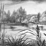 «Другой берег», бумага/ карандаш, 34 х 50, 2018 г.
