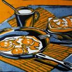 «Завтрак с глазуньей», бумага/цветная линогравюра, 29 x 38, 2019 г