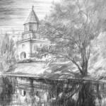 «Мостовая башня», бумага/ карандаш, 50 х 33, 2018 г.
