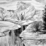 «Мосточек на реке Селекше», бумага/ карандаш, 48 х 35,5, 2019 г.