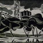 «Новодевичий монастырь», цветная линогравюра, 12,5 х 40, 1997 г.