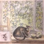 «Окно. Дача», бумага, масляная пастель, 53 x 74, 2017 г.