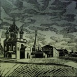 «Суздаль. Кремль.», цветная линогравюра, 49 х 49, 2003 год.