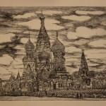 «Собор Василия Блаженного» бумага, сухая игла, 18,5 х 25, 2016.