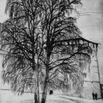У монастыря, бумага/офорт, С4, 29см x 39см 2015 г