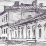 Хозяйственные постройки Государева двора Бумага/С4, офорт 8,5 x 29, 2018 г.
