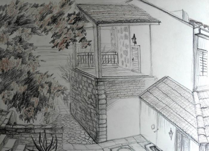 «Двор с кактусами», бумага/ карандаш, 35 х 49, 2019 г.