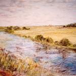 """У реки. Нерль"", масляная пастель, 47, 5 х 55, 1997 год"
