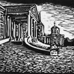 """""""Кусково, дворец."""", ч- б линогравюра, 17 х 24, 2002."""