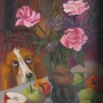 """""""Натюрморт с собакой"""", х. м., 30 х 40, 1993 год."""