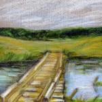 """""""Мост"""", масляная пастель, 10 х 15, 2003 год."""