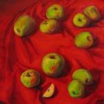 """""""Яблоки на красном"""", х. м., 40 х 50, 2005 год."""