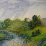 """""""Суздаль. Река."""", масляная пастель, 30 х 42, 2002 год."""