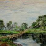 """""""Спаское городище. Река."""", масл. пастель, 30 х 42, 2002 год."""