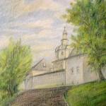 """Андрониковский монастырь."", масляная пастель, 30 х 42, 2002 год."
