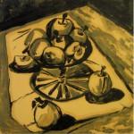 """""""Яблоки"""" 2, монотипия, 50 х 50, 2003."""