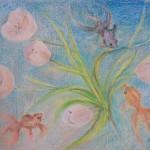 """""""Тюльпаны. Фантазия."""" масляная пастель, 46, 5 х 54, 5, 2004 год."""