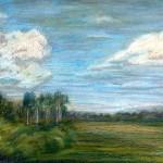 """""""Вид из дачного окна."""", масляная пастель, 30 х 40, 1999 год."""