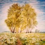"""""""На бульваре"""",масляная пастель, 24 х, 35, 1999 год."""