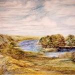 """""""Нерль"""", масляная пастель, 47, 5 х 55, 1997 год"""