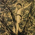 """На яблоне"", монотипия, 50 х 50, 2003."