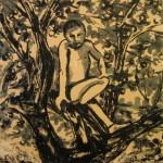 """На яблоне"" 2, монотипия, 50 х 50, 2003."