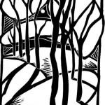 """Триптих """"Деревья"""" 1, ч- б линогравюра, 17 х 24, 1996."""