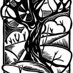 """Триптих """"Деревья"""" 2, ч- б линогравюра, 17 х 24, 1996."""
