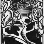 """Триптих """"Деревья"""" 3, ч- б линогравюра, 17 х 24, 1996."""
