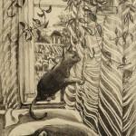 «Кошка на окошке». литография(L),40 х 30, 2014